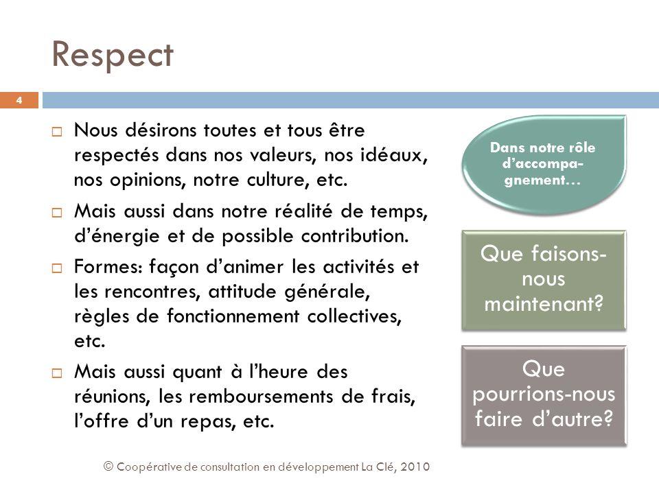Respect Nous désirons toutes et tous être respectés dans nos valeurs, nos idéaux, nos opinions, notre culture, etc.