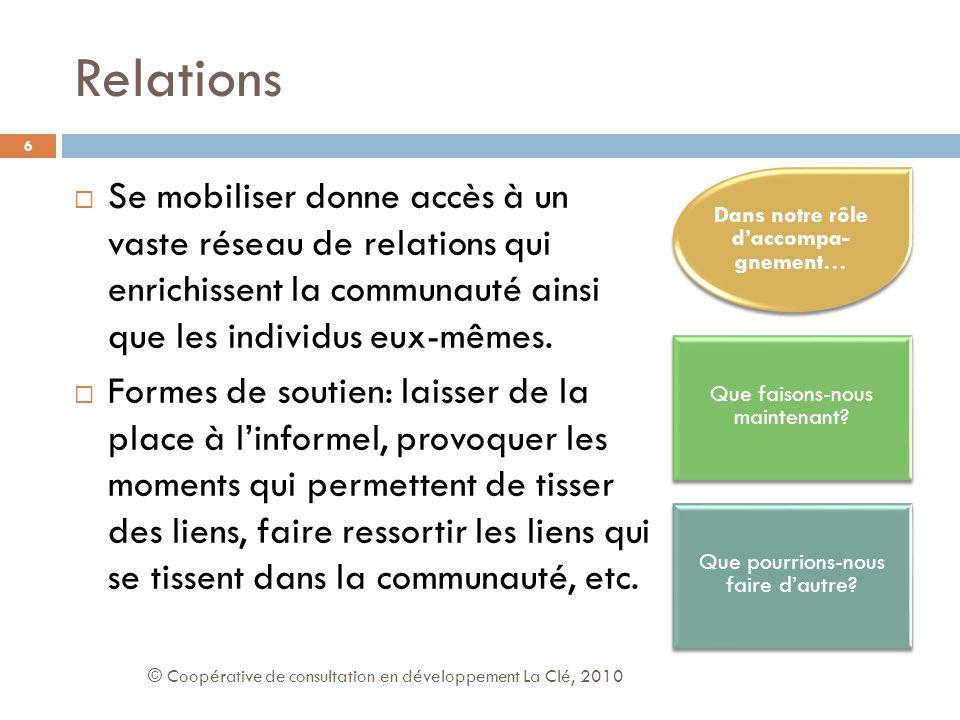 Relations Se mobiliser donne accès à un vaste réseau de relations qui enrichissent la communauté ainsi que les individus eux-mêmes.