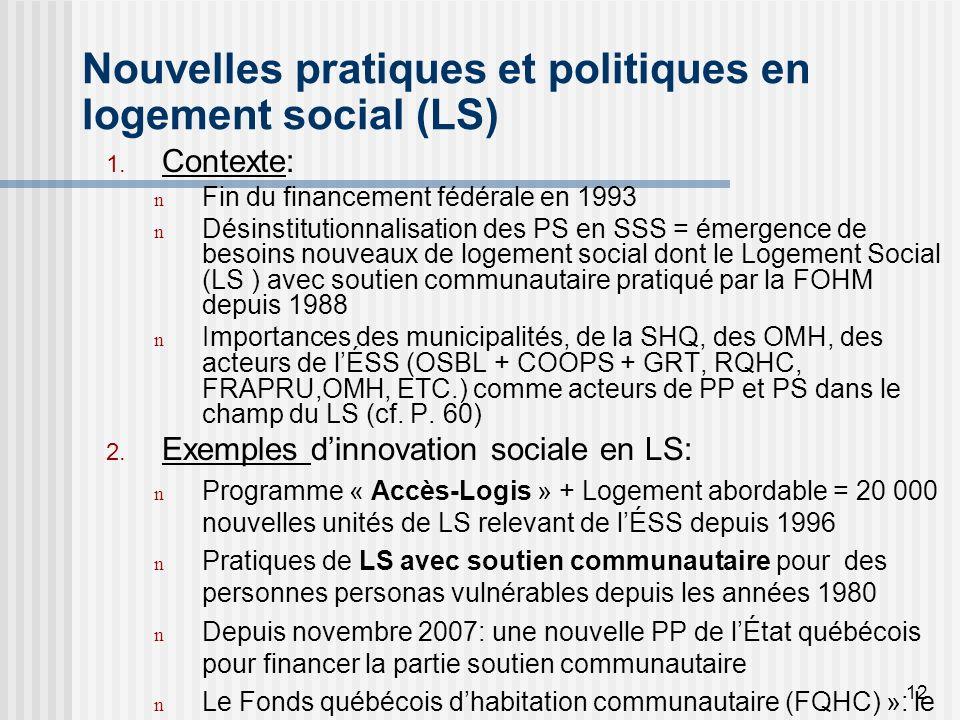 12 Nouvelles pratiques et politiques en logement social (LS) 1.