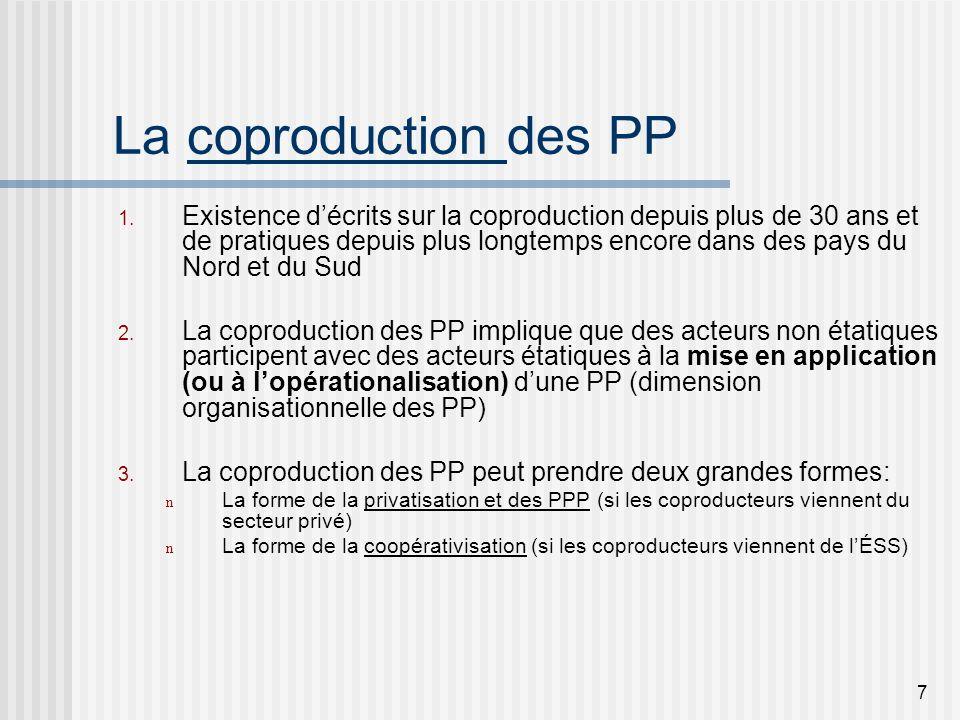 8 La coconstrucción des PP Le concept de coconstruction des PP est plus nouveau que celui de coproduction, doù limportance de le baliser.