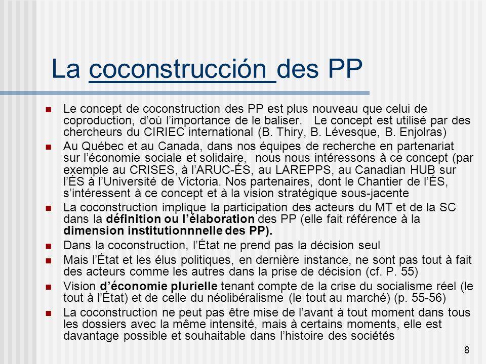 9 Quatre scénarios de coconstruction des PP 1.