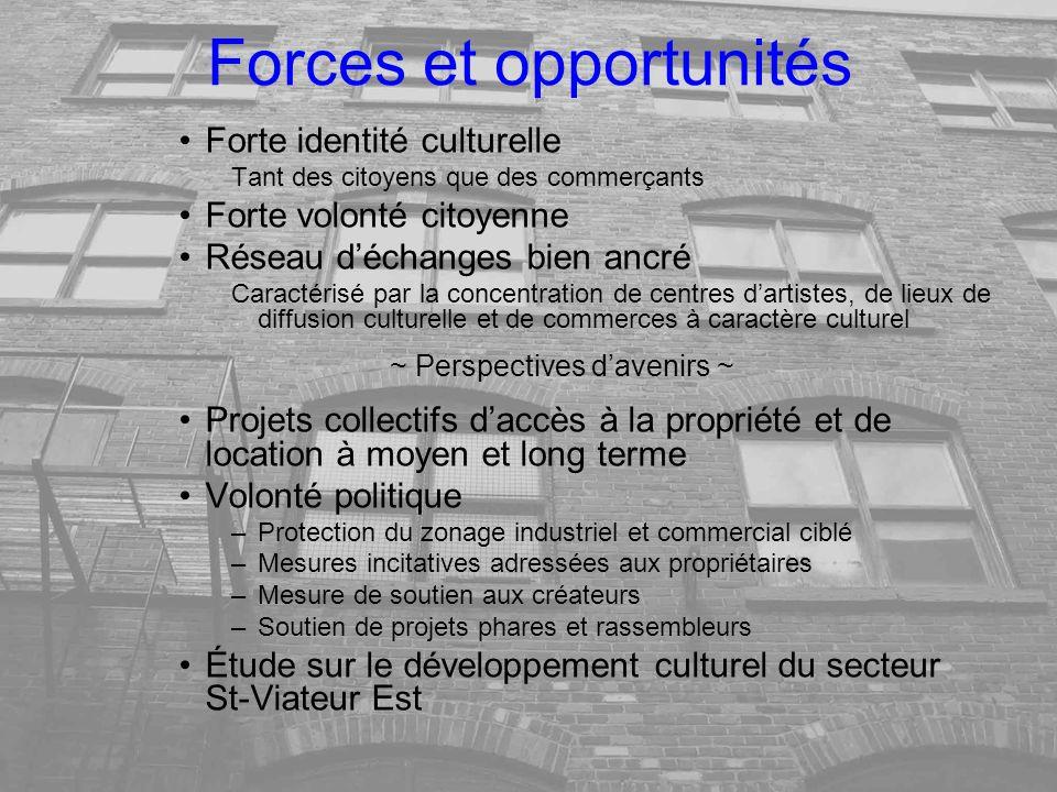 Forces et opportunités Forte identité culturelle Tant des citoyens que des commerçants Forte volonté citoyenne Réseau déchanges bien ancré Caractérisé