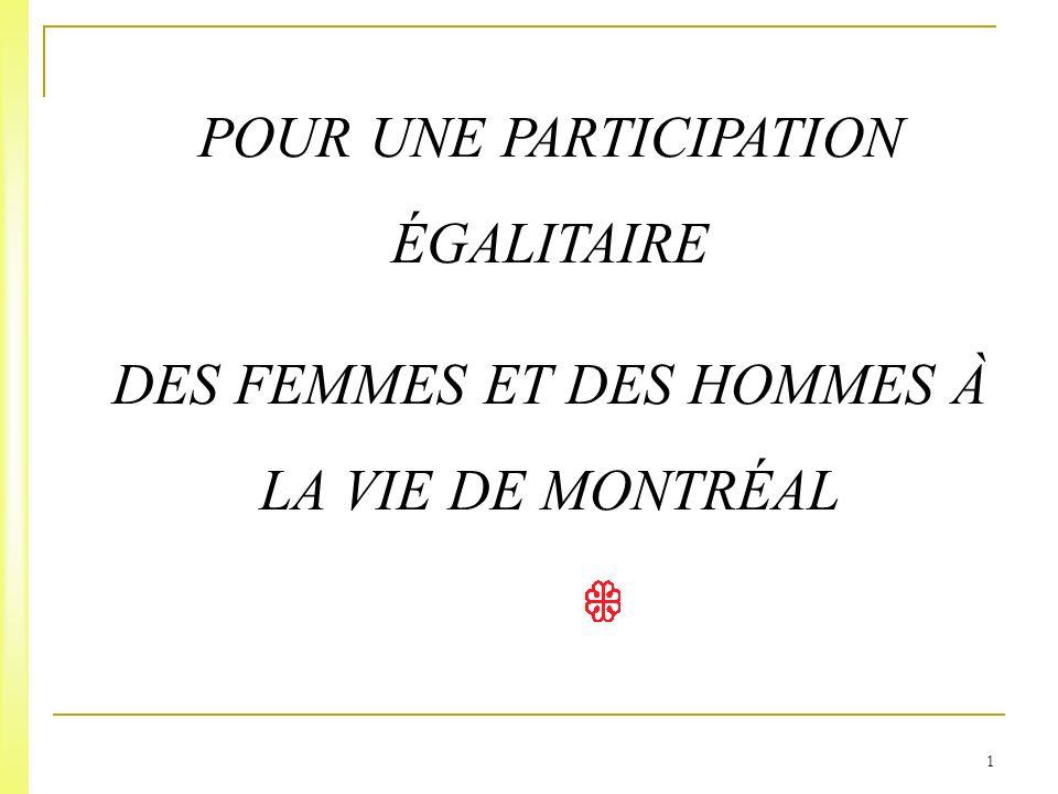 1 POUR UNE PARTICIPATION ÉGALITAIRE DES FEMMES ET DES HOMMES À LA VIE DE MONTRÉAL