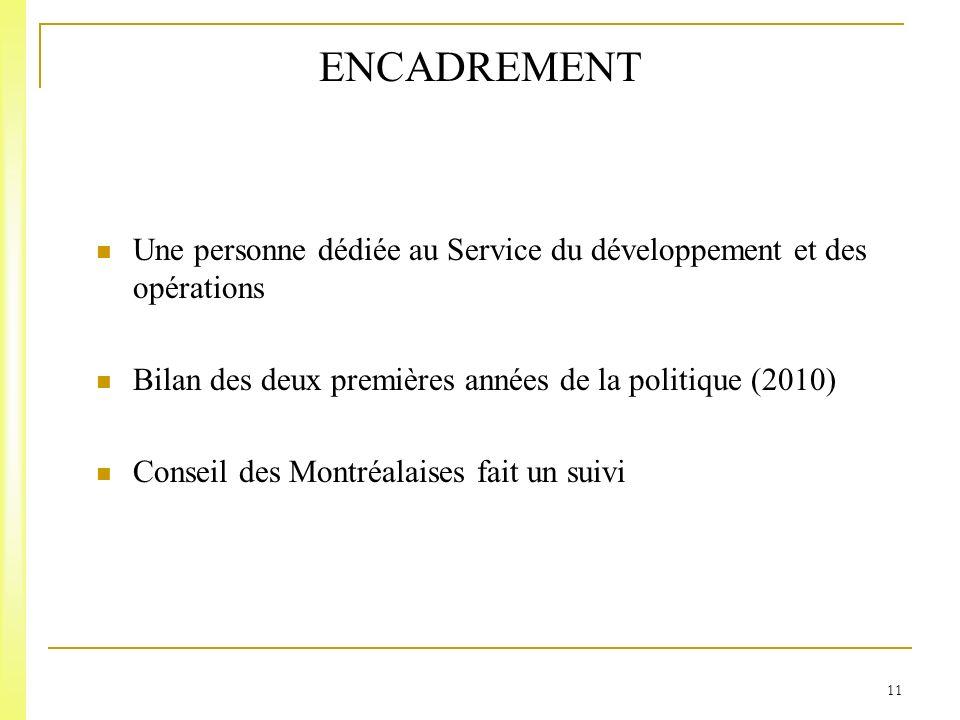 11 ENCADREMENT Une personne dédiée au Service du développement et des opérations Bilan des deux premières années de la politique (2010) Conseil des Montréalaises fait un suivi