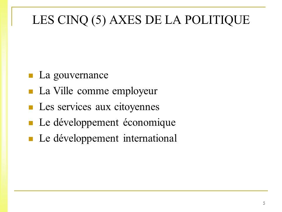 5 LES CINQ (5) AXES DE LA POLITIQUE La gouvernance La Ville comme employeur Les services aux citoyennes Le développement économique Le développement international