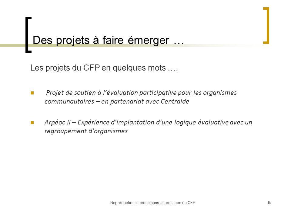 Des projets à faire émerger … Les projets du CFP en quelques mots ….