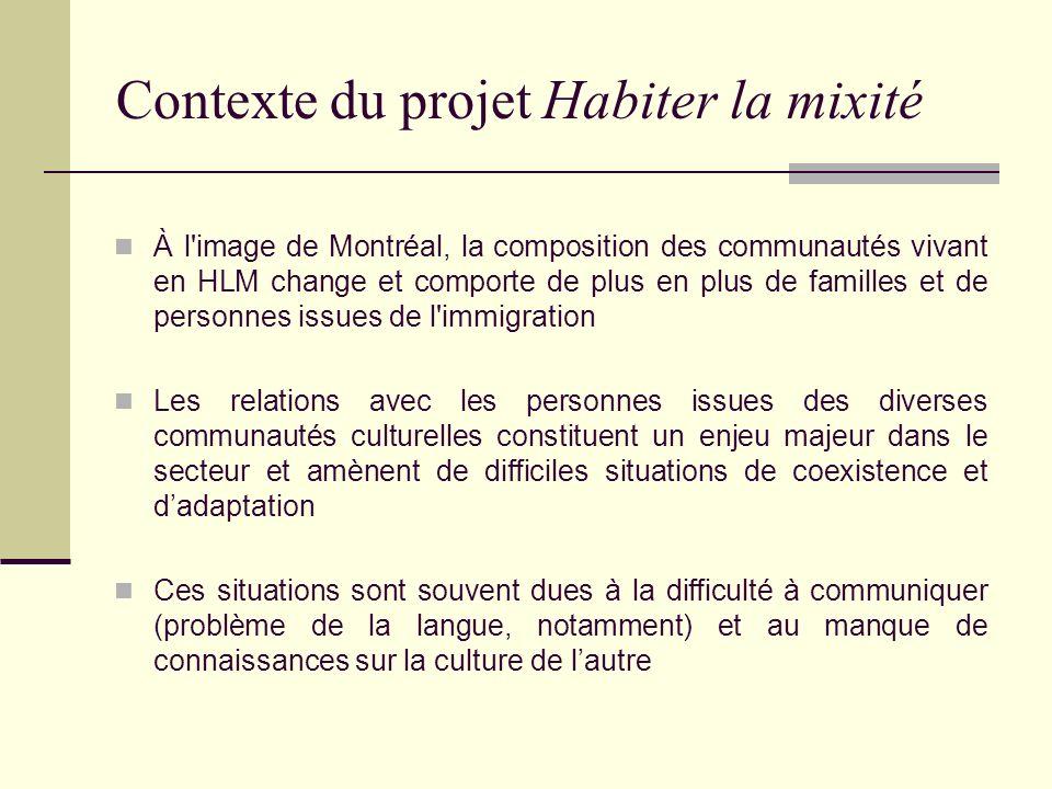 Contexte du projet Habiter la mixité Habiter la mixité a été lancé en 1999 et est le fruit dune collaboration avec la Ville de Montréal et le ministère de lImmigration et des Communautés culturelles (MICC) Le projet est financé dans le cadre dune entente administrative entre la Ville et le Ministère, visant laccueil et lintégration des immigrants Habiter la mixité doit en bonne partie son succès à son approche, dite de proximité Les intervenants travaillent en concertation et en partenariat avec les organismes présents sur les territoires touchés