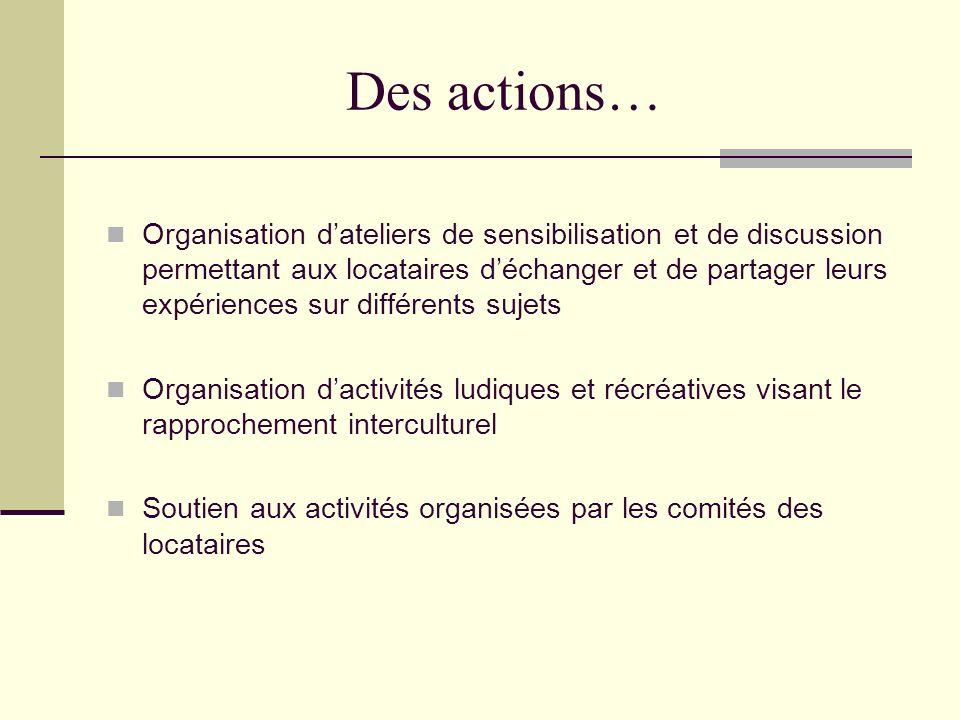 Des actions… Organisation dateliers de sensibilisation et de discussion permettant aux locataires déchanger et de partager leurs expériences sur différents sujets Organisation dactivités ludiques et récréatives visant le rapprochement interculturel Soutien aux activités organisées par les comités des locataires