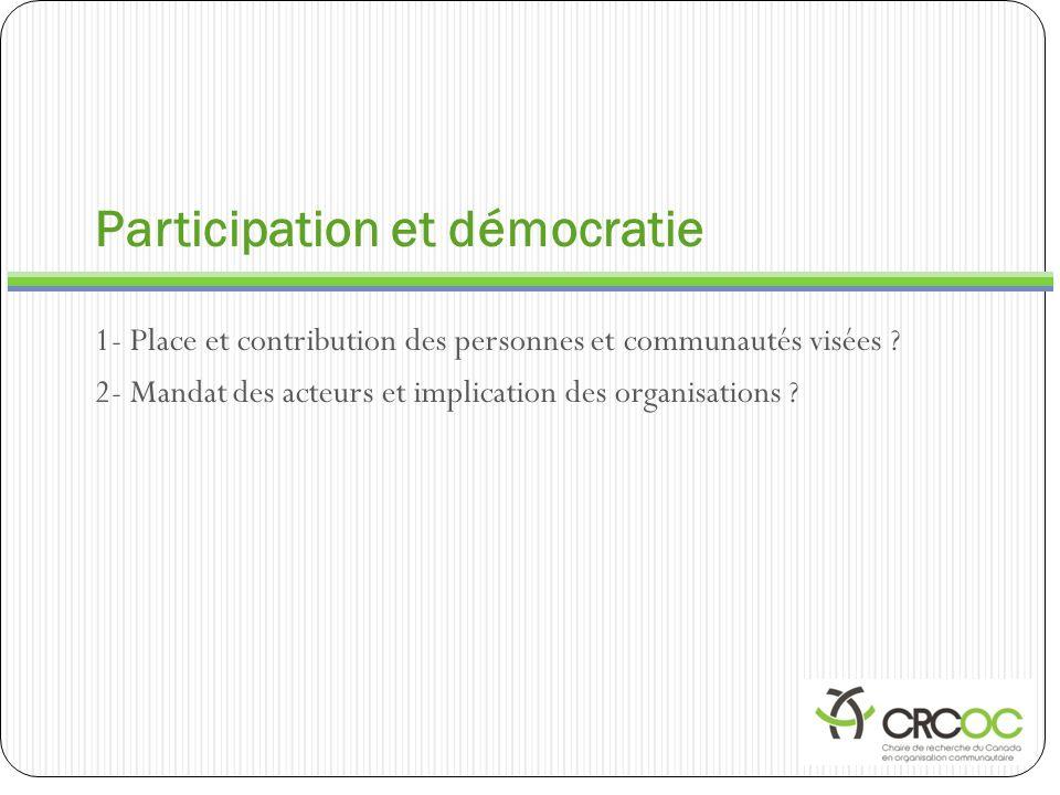 Participation et démocratie 1- Place et contribution des personnes et communautés visées ? 2- Mandat des acteurs et implication des organisations ?