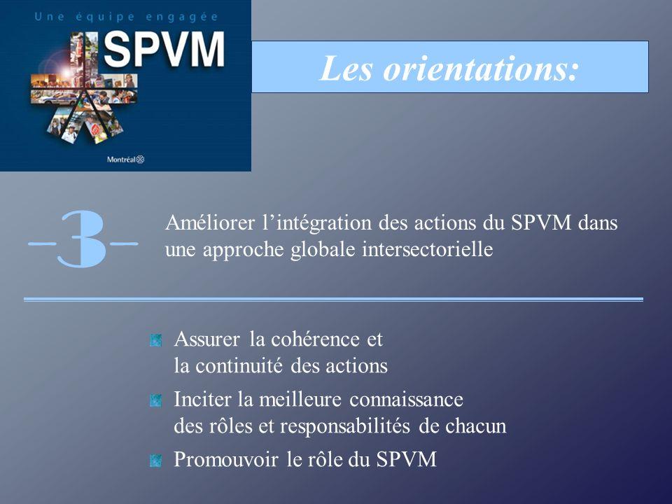 Assurer la cohérence et la continuité des actions Inciter la meilleure connaissance des rôles et responsabilités de chacun Promouvoir le rôle du SPVM Les orientations: Améliorer lintégration des actions du SPVM dans une approche globale intersectorielle -3-