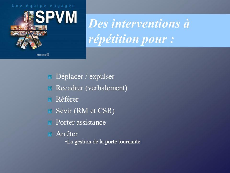 Déplacer / expulser Recadrer (verbalement) Référer Sévir (RM et CSR) Porter assistance Arrêter La gestion de la porte tournante Des interventions à répétition pour :