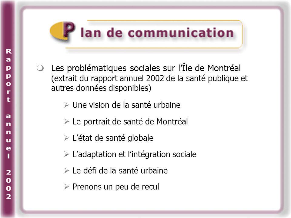Les problématiques sociales sur lÎle de Montréal (extrait du rapport annuel 2002 de la santé publique et autres données disponibles) Une vision de la santé urbaine Le portrait de santé de Montréal Létat de santé globale Ladaptation et lintégration sociale Le défi de la santé urbaine Prenons un peu de recul