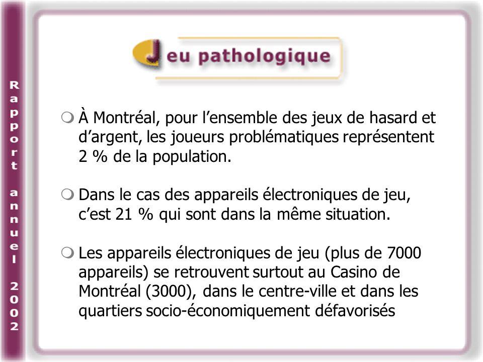À Montréal, pour lensemble des jeux de hasard et dargent, les joueurs problématiques représentent 2 % de la population.