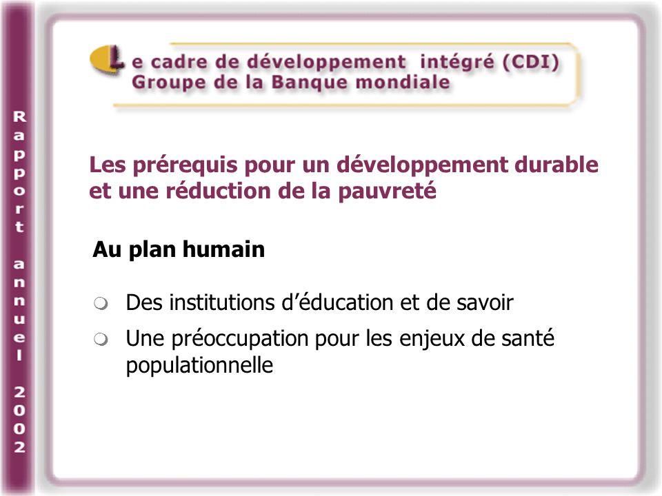 Au plan humain Des institutions déducation et de savoir Une préoccupation pour les enjeux de santé populationnelle Les prérequis pour un développement durable et une réduction de la pauvreté