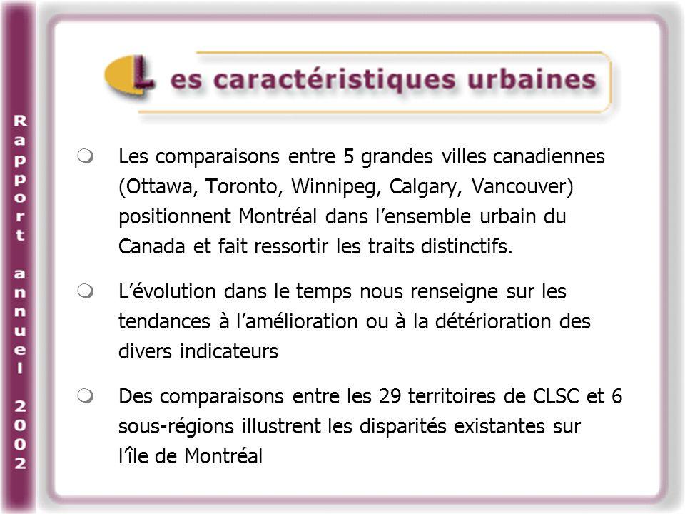 Les comparaisons entre 5 grandes villes canadiennes (Ottawa, Toronto, Winnipeg, Calgary, Vancouver) positionnent Montréal dans lensemble urbain du Canada et fait ressortir les traits distinctifs.