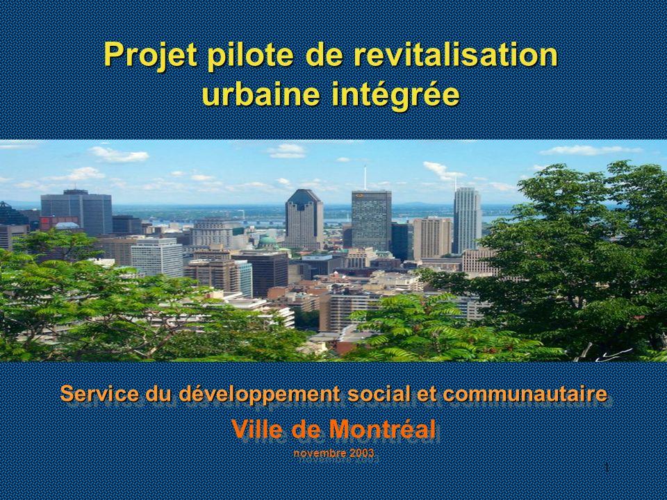 1 Service du développement social et communautaire Ville de Montréal novembre 2003 Service du développement social et communautaire Ville de Montréal novembre 2003 Projet pilote de revitalisation urbaine intégrée
