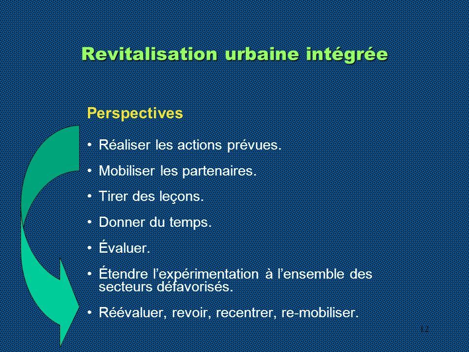12 Revitalisation urbaine intégrée Perspectives Réaliser les actions prévues. Mobiliser les partenaires. Tirer des leçons. Donner du temps. Évaluer. É
