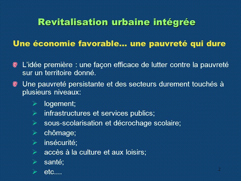 2 Revitalisation urbaine intégrée Une économie favorable… une pauvreté qui dure Lidée première : une façon efficace de lutter contre la pauvreté sur un territoire donné.