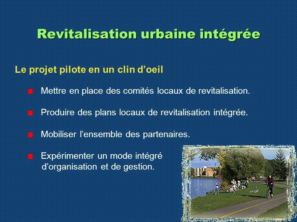 6 Revitalisation urbaine intégrée Le projet pilote en un clin doeil Mettre en place des comités locaux de revitalisation. Produire des plans locaux de