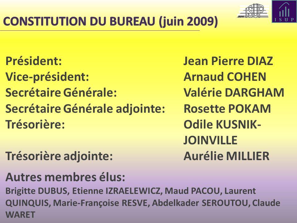 Président: Jean Pierre DIAZ Vice-président:Arnaud COHEN Secrétaire Générale: Valérie DARGHAM Secrétaire Générale adjointe: Rosette POKAM Trésorière: O