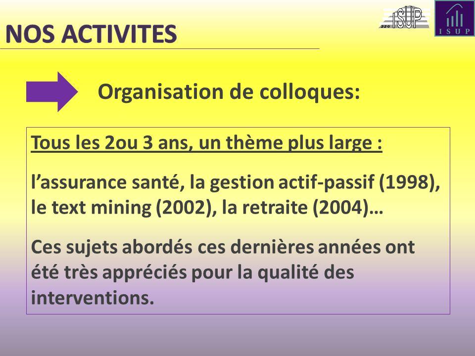 Organisation de colloques: Tous les 2ou 3 ans, un thème plus large : lassurance santé, la gestion actif-passif (1998), le text mining (2002), la retra