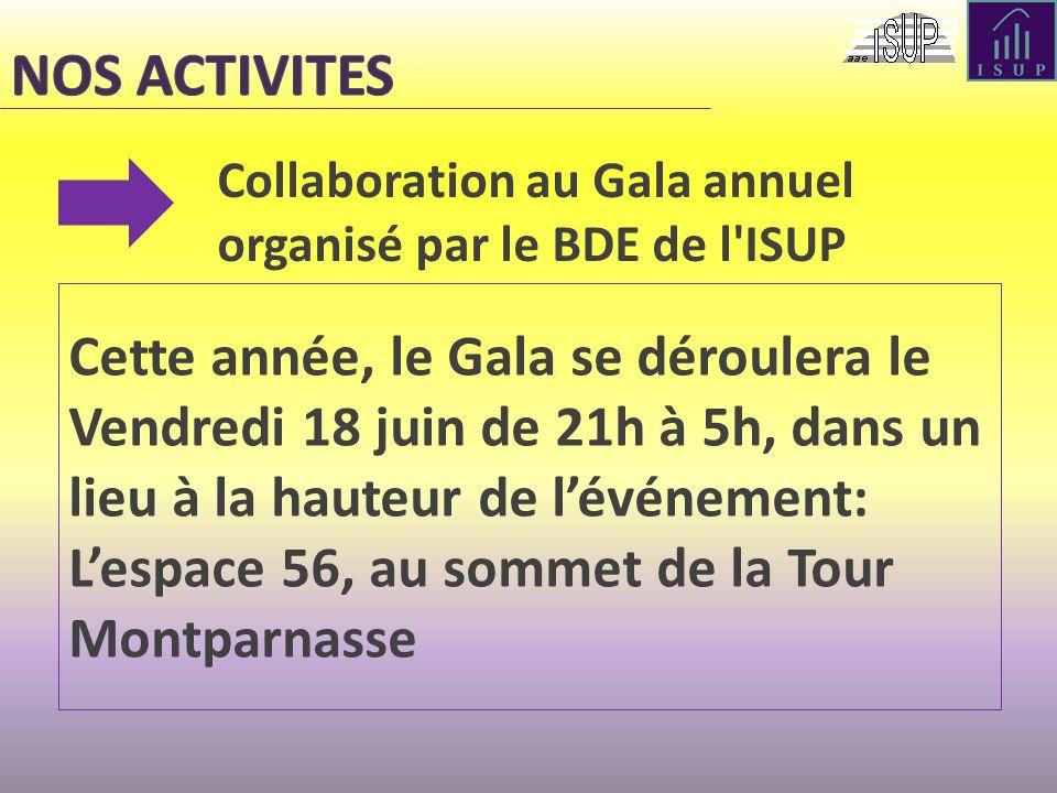 Collaboration au Gala annuel organisé par le BDE de l'ISUP Cette année, le Gala se déroulera le Vendredi 18 juin de 21h à 5h, dans un lieu à la hauteu