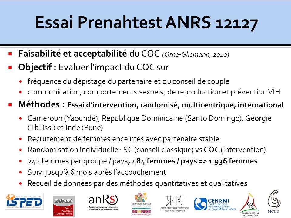 Faisabilité et acceptabilité du COC (Orne-Gliemann, 2010) Objectif : Evaluer limpact du COC sur fréquence du dépistage du partenaire et du conseil de