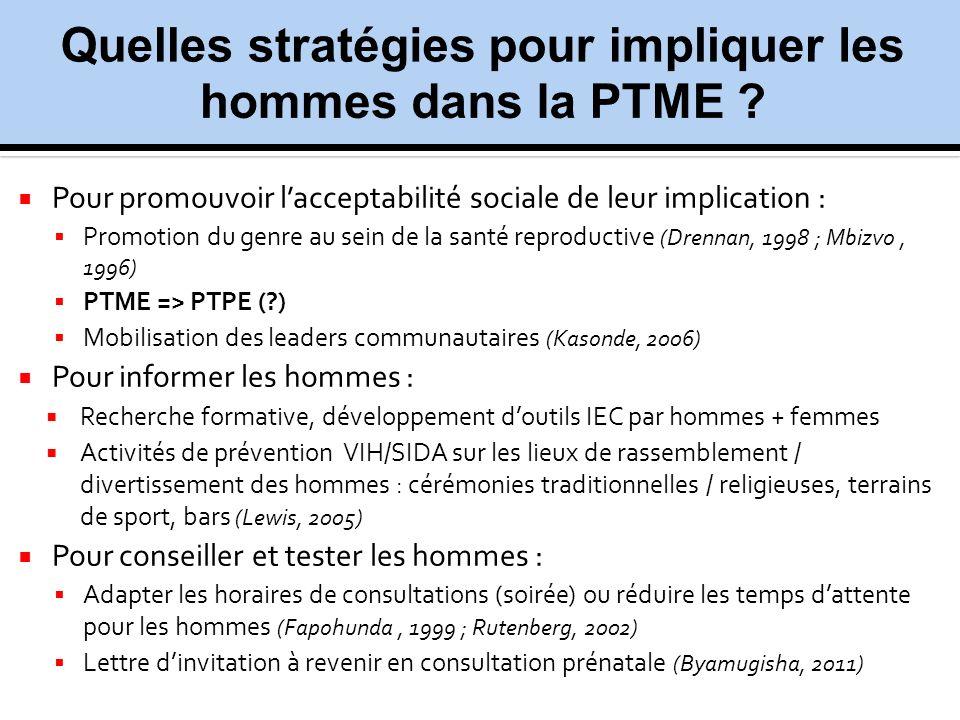 Pour promouvoir lacceptabilité sociale de leur implication : Promotion du genre au sein de la santé reproductive (Drennan, 1998 ; Mbizvo, 1996) PTME =
