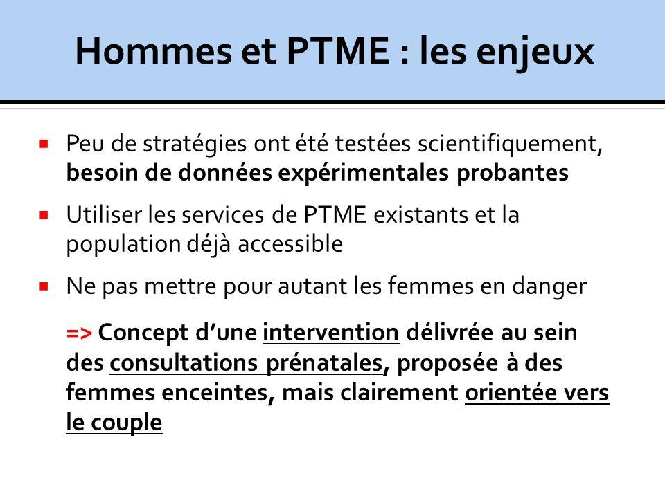 Peu de stratégies ont été testées scientifiquement, besoin de données expérimentales probantes Utiliser les services de PTME existants et la populatio