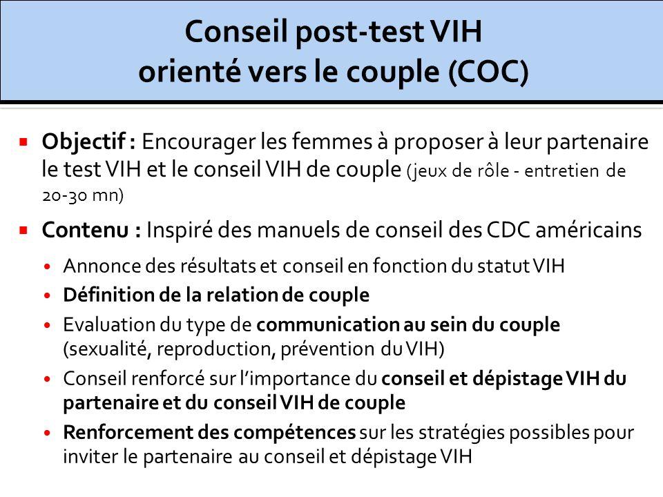 Objectif : Encourager les femmes à proposer à leur partenaire le test VIH et le conseil VIH de couple (jeux de rôle - entretien de 20-30 mn) Contenu :