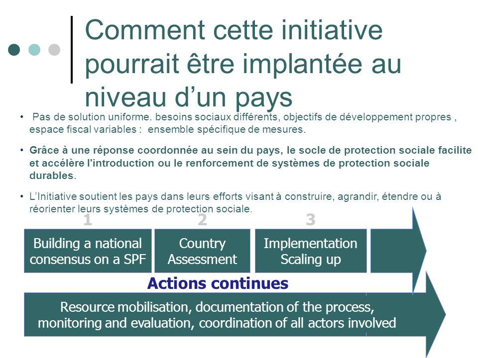 Comment cette initiative pourrait être implantée au niveau dun pays Building a national consensus on a SPF 1 Country Assessment 2 Implementation Scali