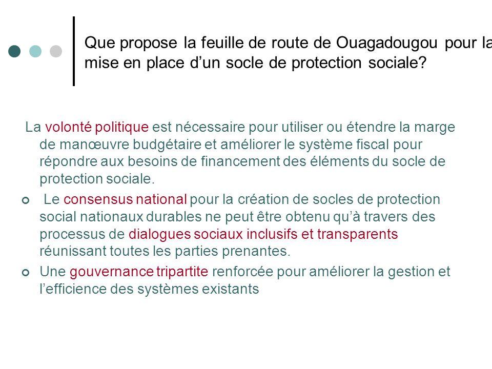 Que propose la feuille de route de Ouagadougou pour la mise en place dun socle de protection sociale? La volonté politique est nécessaire pour utilise