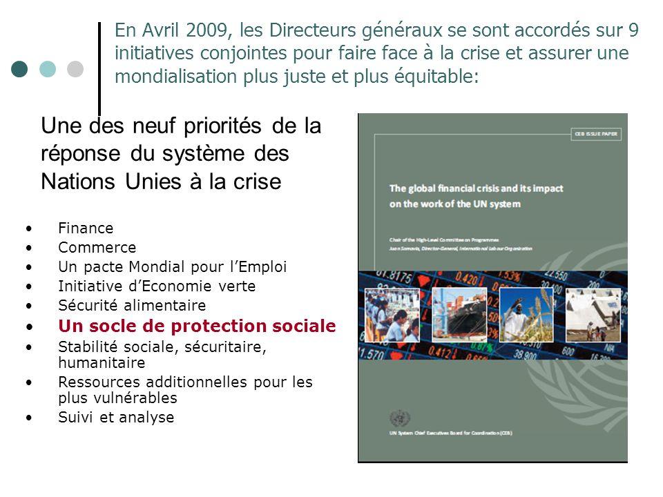 Une des neuf priorités de la réponse du système des Nations Unies à la crise En Avril 2009, les Directeurs généraux se sont accordés sur 9 initiatives