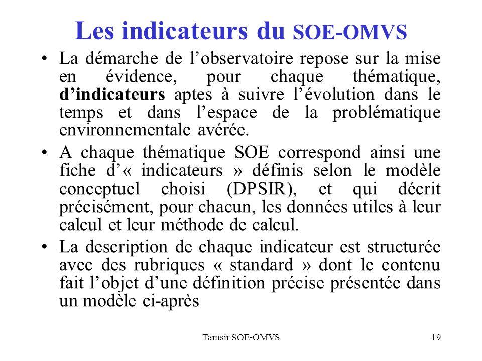 Tamsir SOE-OMVS19 Les indicateurs du SOE-OMVS La démarche de lobservatoire repose sur la mise en évidence, pour chaque thématique, dindicateurs aptes à suivre lévolution dans le temps et dans lespace de la problématique environnementale avérée.