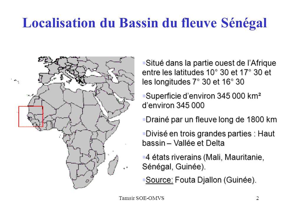 Tamsir SOE-OMVS2 Situé dans la partie ouest de lAfrique entre les latitudes 10° 30 et 17° 30 et les longitudes 7° 30 et 16° 30 Situé dans la partie ouest de lAfrique entre les latitudes 10° 30 et 17° 30 et les longitudes 7° 30 et 16° 30 Superficie denviron 345 000 km² denviron 345 000 Superficie denviron 345 000 km² denviron 345 000 Drainé par un fleuve long de 1800 km Drainé par un fleuve long de 1800 km Divisé en trois grandes parties : Haut bassin – Vallée et Delta Divisé en trois grandes parties : Haut bassin – Vallée et Delta 4 états riverains (Mali, Mauritanie, Sénégal, Guinée).