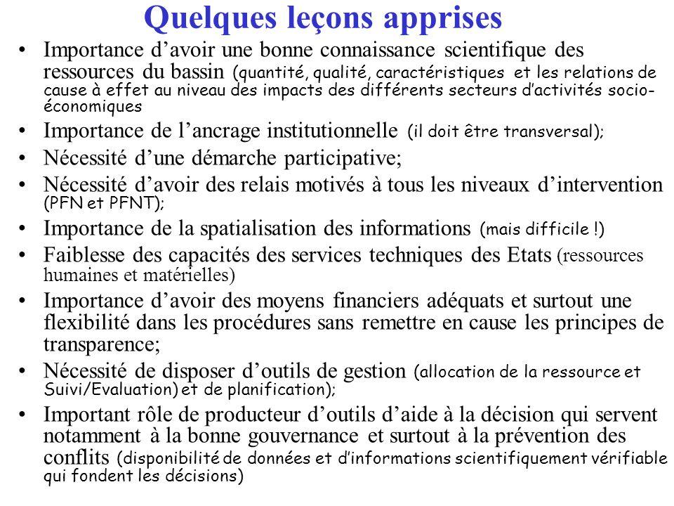 Quelques leçons apprises Importance davoir une bonne connaissance scientifique des ressources du bassin (quantité, qualité, caractéristiques et les re