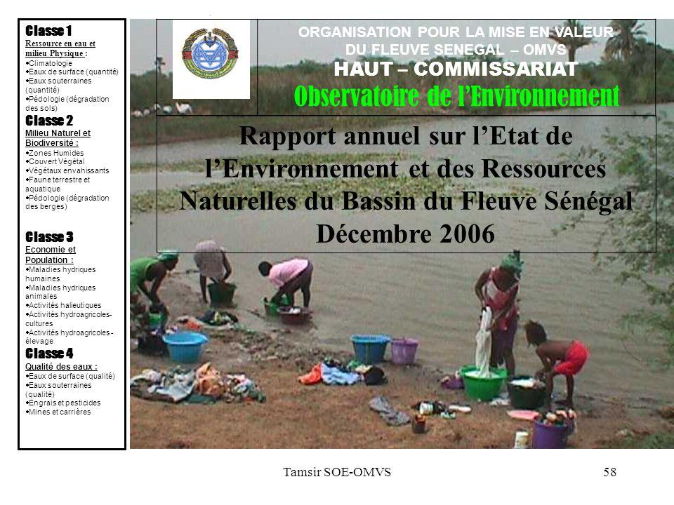 Tamsir SOE-OMVS58 Rapport annuel sur lEtat de lEnvironnement et des Ressources Naturelles du Bassin du Fleuve Sénégal Décembre 2006 Classe 1 Ressource