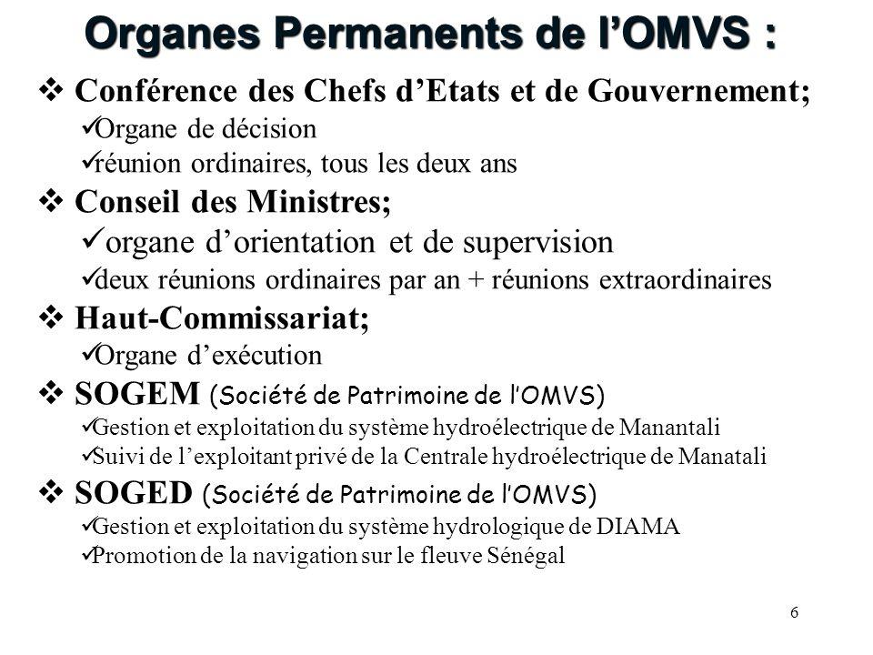 6 Conférence des Chefs dEtats et de Gouvernement; Organe de décision réunion ordinaires, tous les deux ans Conseil des Ministres; organe dorientation