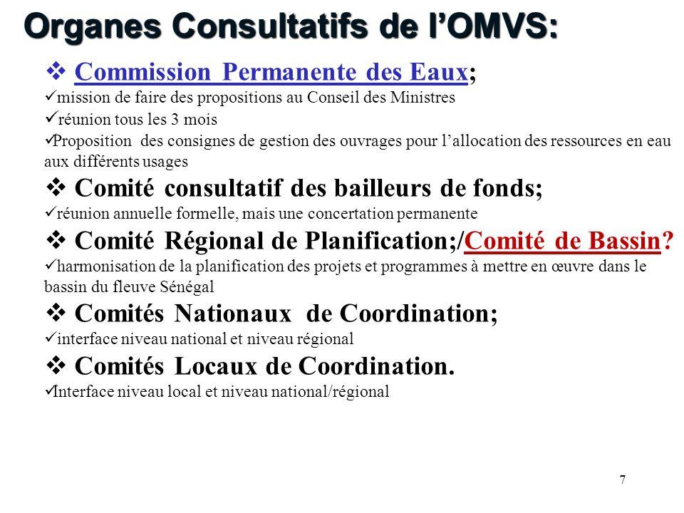 7 Commission Permanente des Eaux; mission de faire des propositions au Conseil des Ministres réunion tous les 3 mois Proposition des consignes de gest