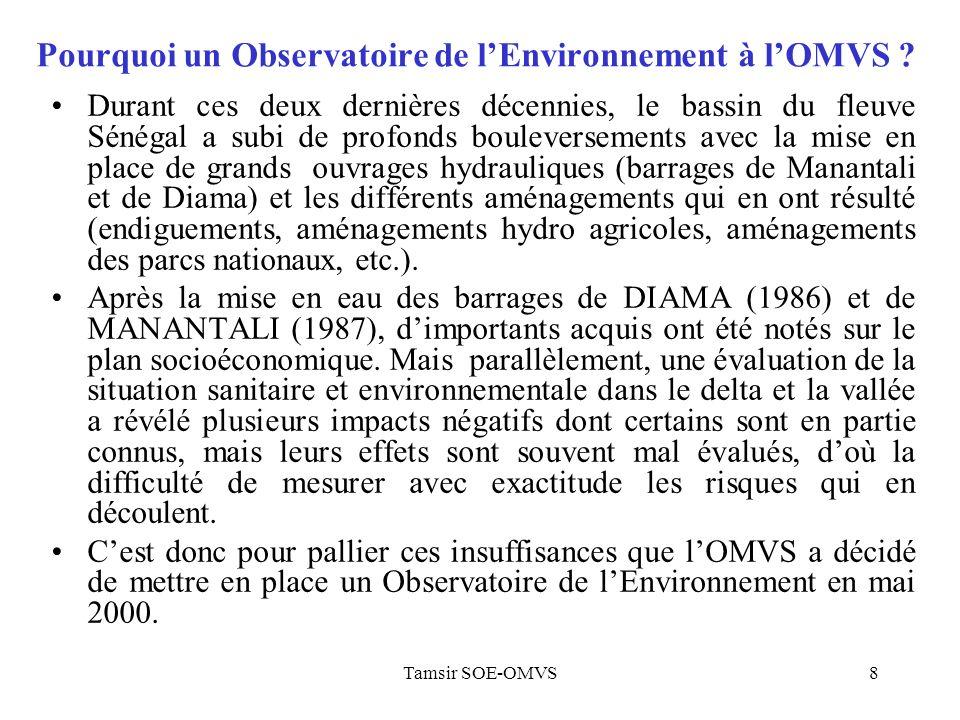 Tamsir SOE-OMVS8 Pourquoi un Observatoire de lEnvironnement à lOMVS ? Durant ces deux dernières décennies, le bassin du fleuve Sénégal a subi de profo