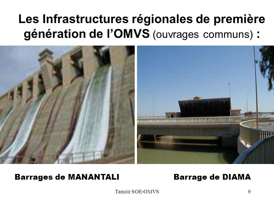 Tamsir SOE-OMVS9 Les Infrastructures régionales de première génération de lOMVS (ouvrages communs) : Barrages de MANANTALI Barrage de DIAMA