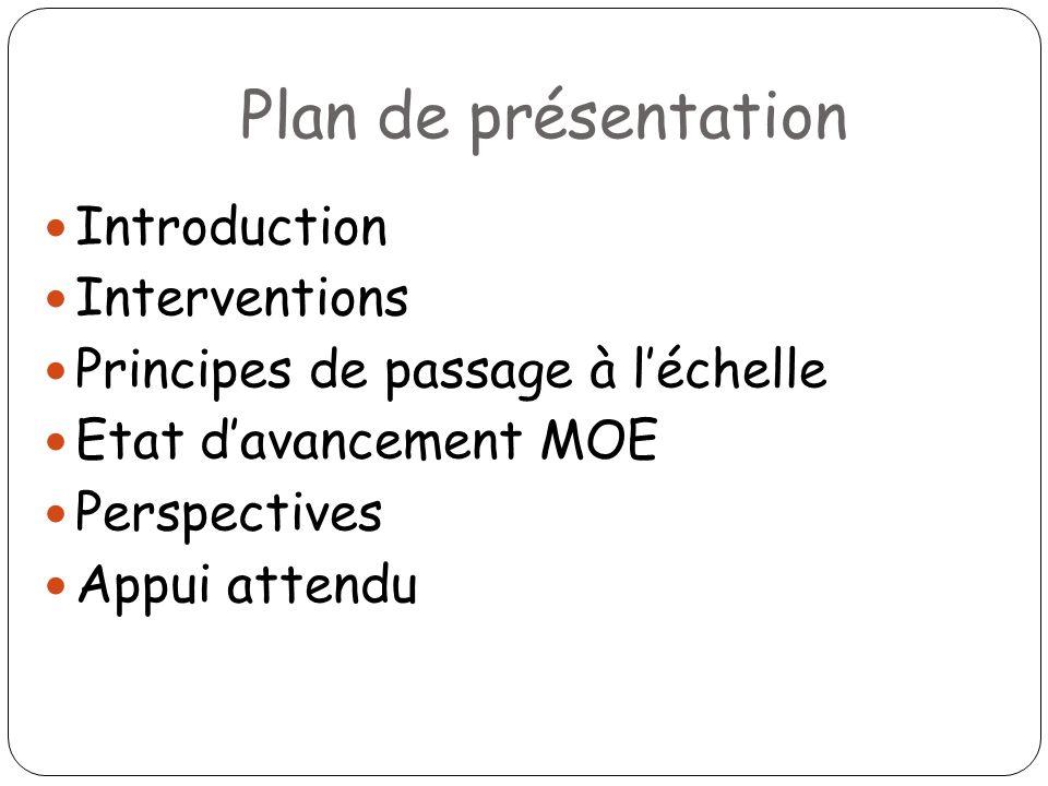 Plan de présentation Introduction Interventions Principes de passage à léchelle Etat davancement MOE Perspectives Appui attendu