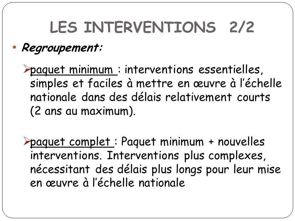 LES INTERVENTIONS 2/2 Regroupement: paquet minimum : interventions essentielles, simples et faciles à mettre en œuvre à léchelle nationale dans des délais relativement courts (2 ans au maximum).