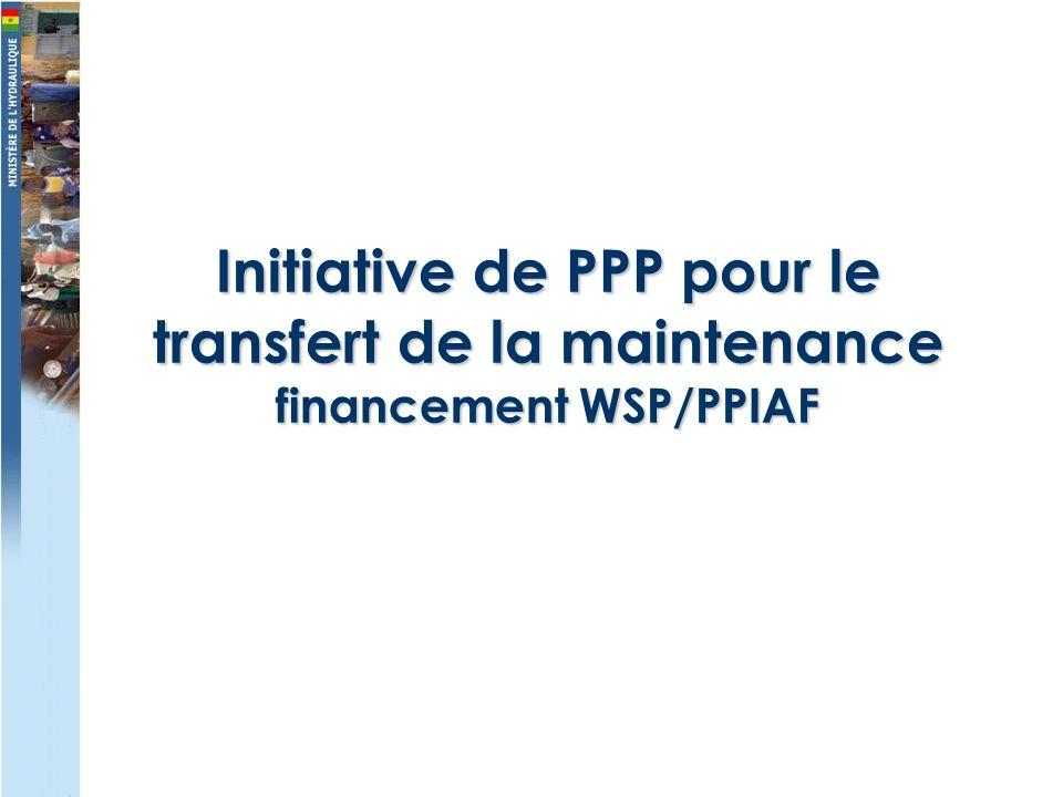 Initiative de PPP pour le transfert de la maintenance financement WSP/PPIAF