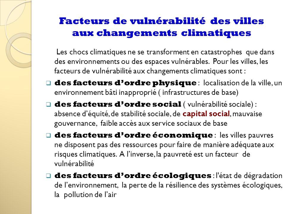 Facteurs de vulnérabilité des villes aux changements climatiques Les chocs climatiques ne se transforment en catastrophes que dans des environnements