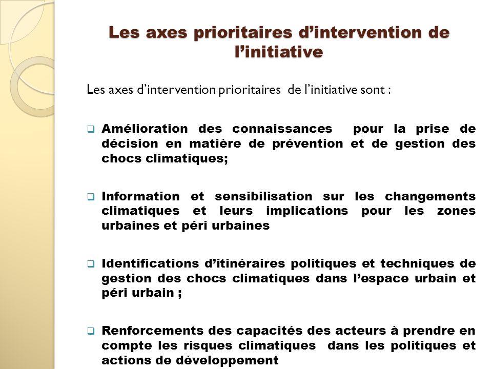 Les axes prioritaires dintervention de linitiative Les axes dintervention prioritaires de linitiative sont : Amélioration des connaissances pour la pr