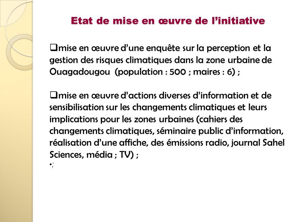 Etat de mise en œuvre de linitiative mise en œuvre dune enquête sur la perception et la gestion des risques climatiques dans la zone urbaine de Ouagad