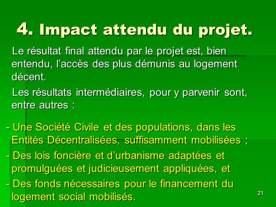 21 4. Impact attendu du projet. Le résultat final attendu par le projet est, bien entendu, laccès des plus démunis au logement décent. Le résultat fin
