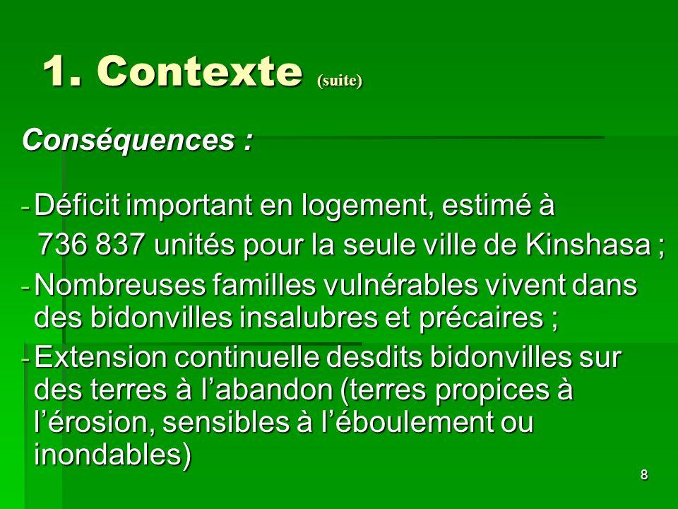 8 1. Contexte (suite) Conséquences : - Déficit important en logement, estimé à 736 837 unités pour la seule ville de Kinshasa ; 736 837 unités pour la