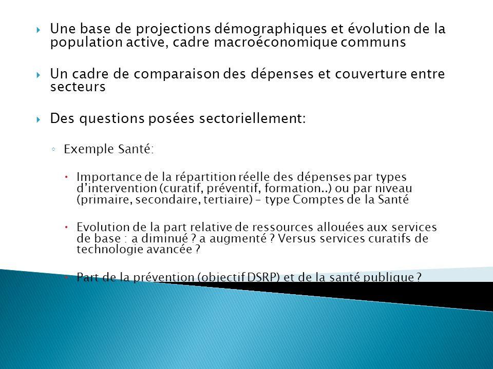 Une base de projections démographiques et évolution de la population active, cadre macroéconomique communs Un cadre de comparaison des dépenses et cou